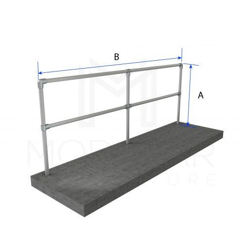Straight and Flat Guardrail Run Dimensions